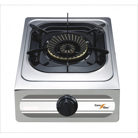One burner gas stove with cover.