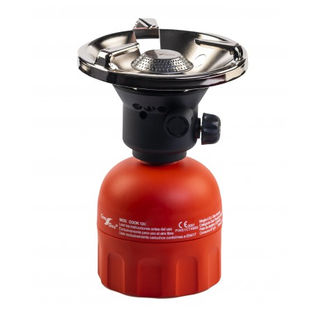 Camping stove plastic body for standard cartridge. Traditional ignition